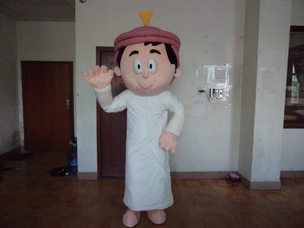 Необычные белые Арабский человек Маскоты костюм Маскоты te арабские арабских люди с черными густая борода длинные Белая юбка Бесплатная дос