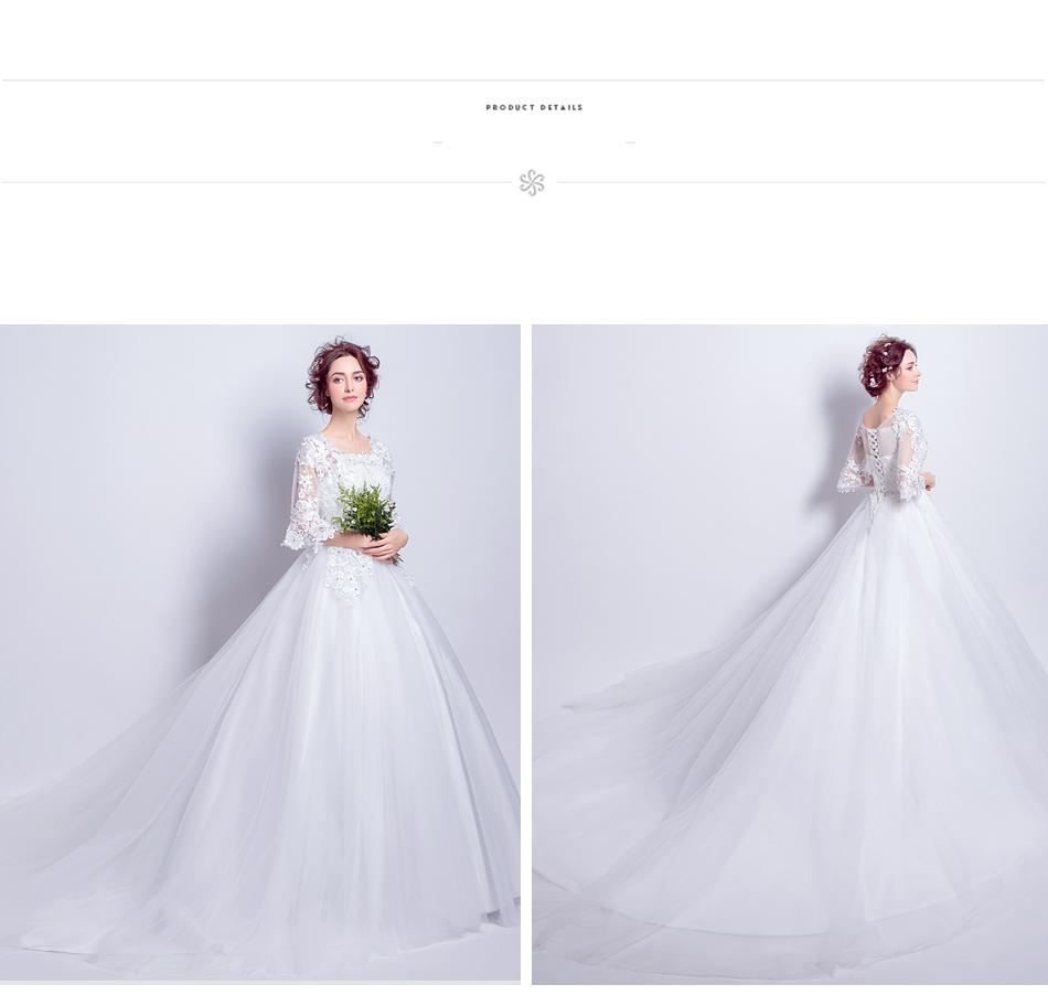 Angel Wedding Dress Marriage Bride Bridal Gown Vestido De Noiva 2017 Boat Neck horn sleeve, big tail 6910 16