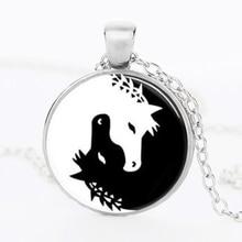 Horse Jewelry Necklace Yin Yang Black and White Animals Art Pendant Glass Photo Charms Photo Art medallion pendant HZ1