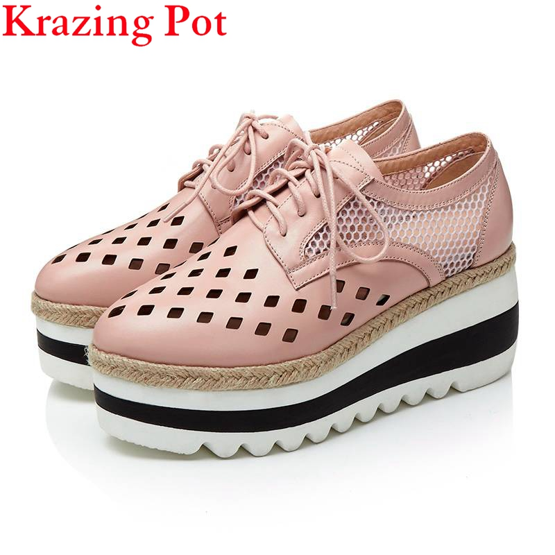 2017 Genuine Leather Superstar High Heels Women Brand Shoes Wedges Hollow Lace Up Round Toe Platform Increased Oxford Shoes L7f9 krazing pot 2018 shoes women genuine leather round toe rivets wedges lace up bowtie women pumps hollow platform oxford shoes l03