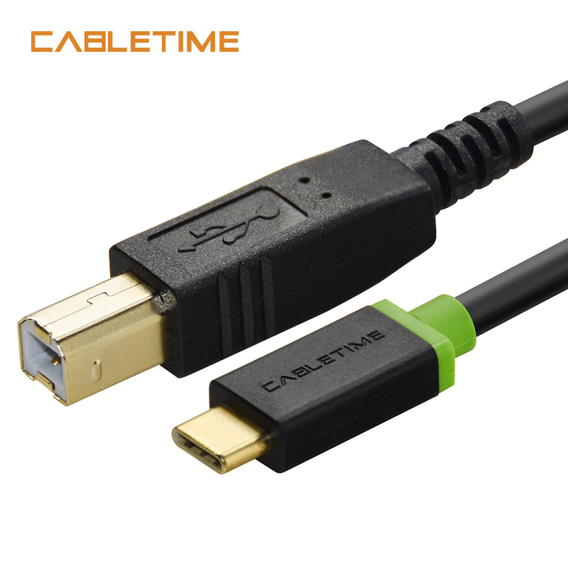 Cabletime USB C 3.1 to USB 2.0 B Male Scanner Printer Cable 2m Type C to Type Male Charging Cord for Computer PC Laptop N037 vakind usb cable 0 2m usb 3 1 usb c type c type c male to micro usb2 0 5pin male connector adapter data charging cable wire cord