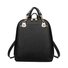 2016 High quality Brand casual pu leather women's backpack solid schoolbag female backpacks women preppy style