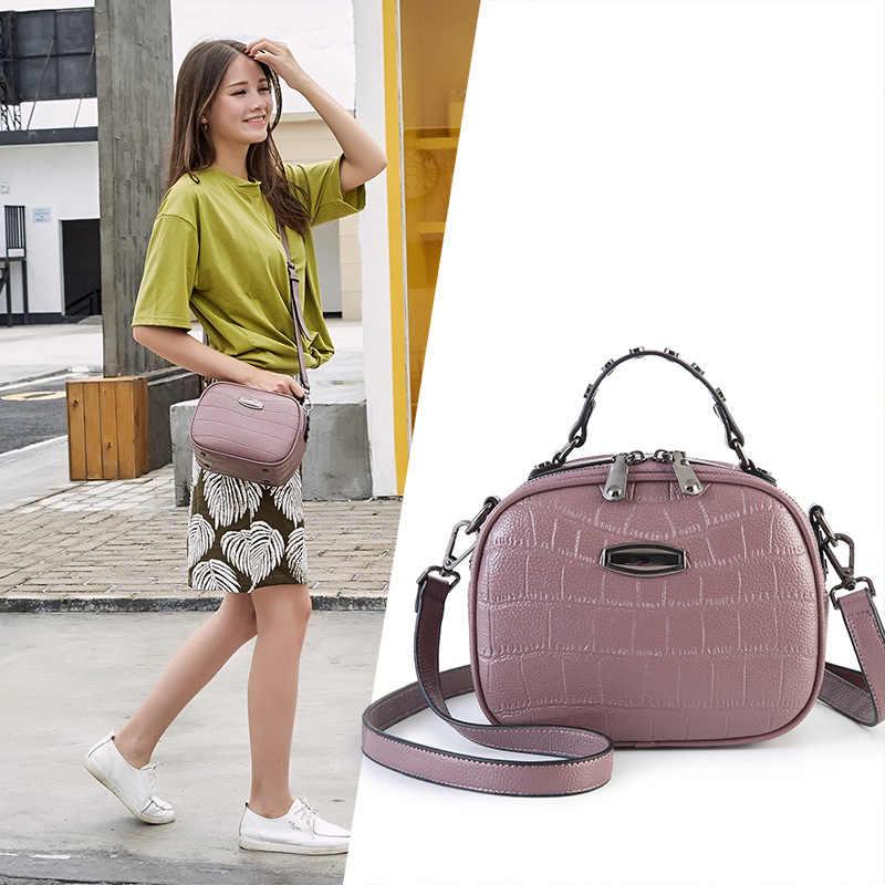2019 neue Frauen Handtaschen Leder Zipper Schulter Taschen Weibliche Vintage Kupplung Crossbody Messenger Taschen Damen Mode Kleine Klappe