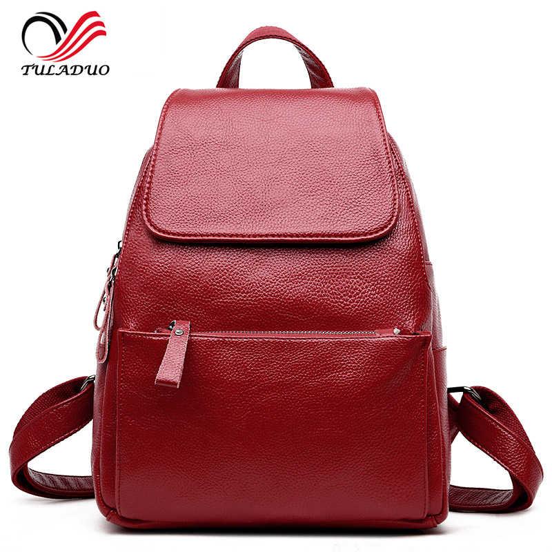 Женский мягкий рюкзак из натуральной кожи, высокое качество, сумки на плечо, рюкзаки для девочек-подростков, туристический в стиле преппи, школьная сумка