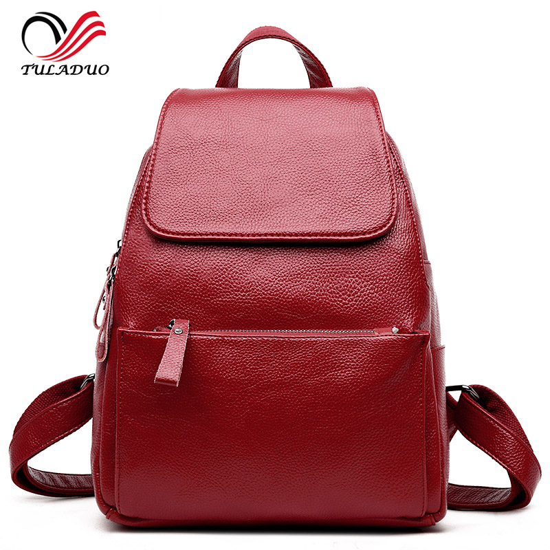 Women Soft Genuine Leather Ladies Backpack high quality shoulder bags backpacks for teenage girls Preppy Style Travel School Bag preppy style school bag women backpack shoulders female travel bags kanken high quality leather backpacks bolsas free shipping