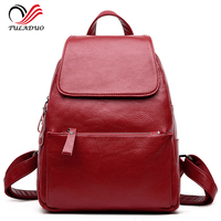 Women Soft Genuine Leather Ladies Backpack high quality shoulder bags backpacks for teenage girls Preppy Style Travel School Bag