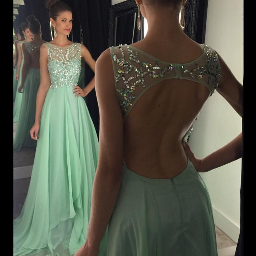 Custom Made Black Prom Dress Beaded Sheer Back Evening Dress One ...