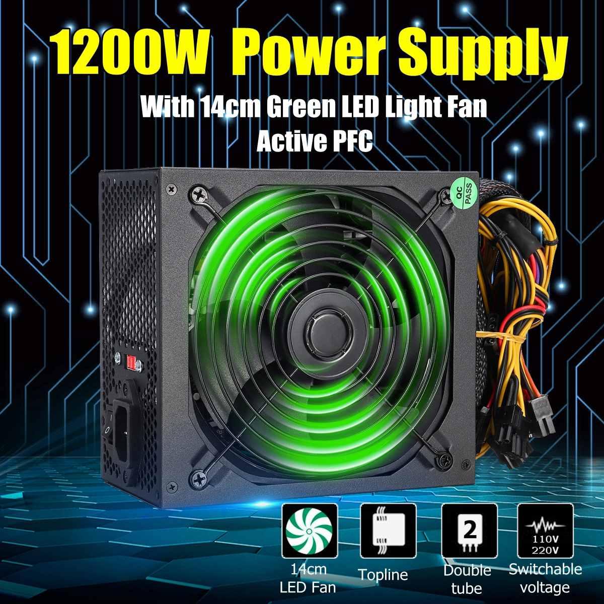 1200W Alimentation PC Pour Ordinateur Module PC PSU 24Pin SATA 6Pin 4Pin Silencieux ventilateur LED 80plus