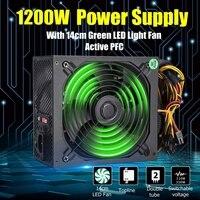 1200W PC Power Supply For Computer Module PC PSU 24Pin SATA 6Pin 4Pin Quiet LED Fan 80 Plus