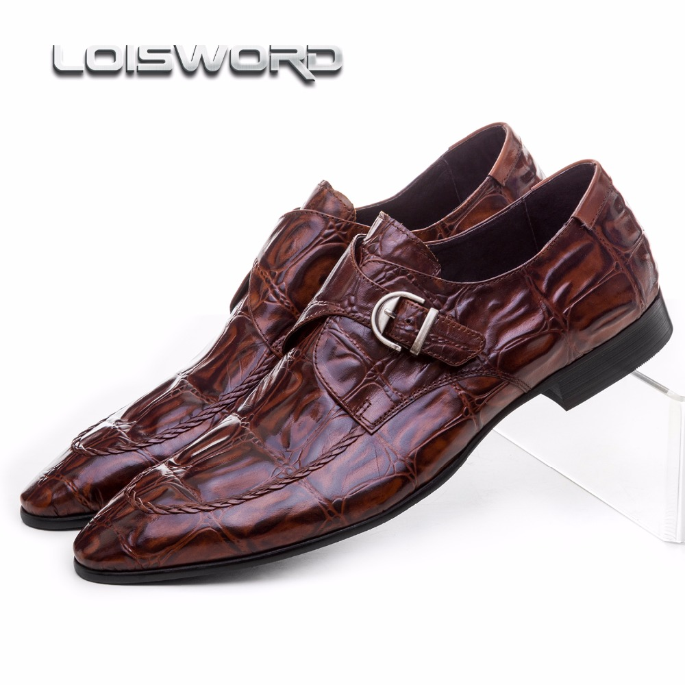 LOISWORD Crocodile Grain brown tan / black mens dress shoes genuine leather wedding shoes casual mens business shoes with buckle large size eur45 crocodile grain black brown tan oxfords mens business shoes genuine leather dress shoes mens wedding shoes