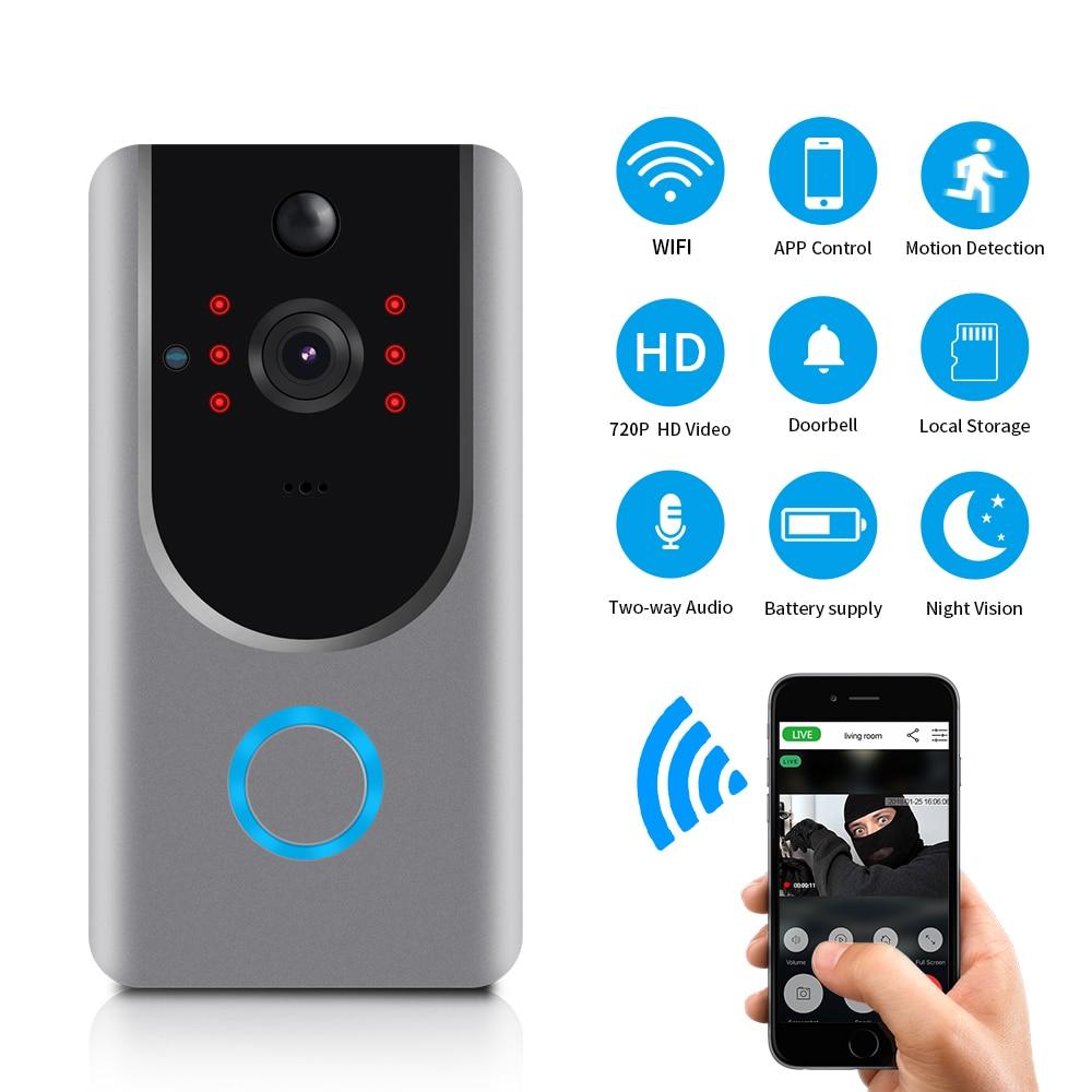 LOOSAFE sonnette sans fil appartements alarme IR caméra de Surveillance de sécurité sans fil PTZ IP Cam porte de nuit carillon WIFI sonnette