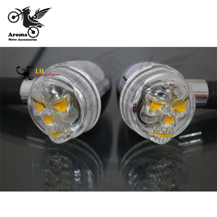 skull decals motorcycle LED indicator amber blinker lamp flashers motorbike Turn signal light Human skeleton ghost head lighting