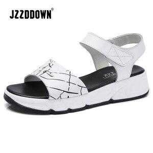Image 2 - Women Platform sandals shoes Genuine Leather ladies white Flats Sneakers Sandals shoe 2018 summer open toe Fashion footwear