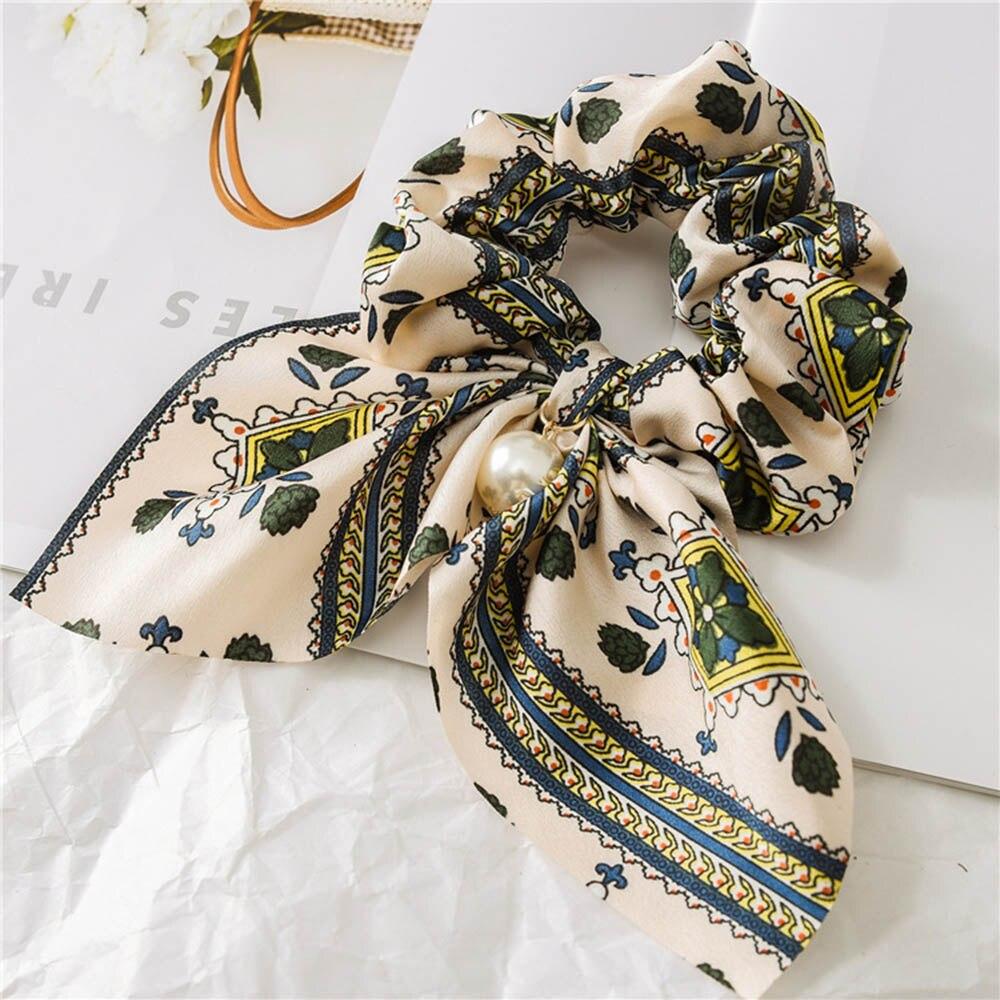 Nouveau mousseline de soie Bowknot élastique bandes de cheveux pour les femmes filles perle chouchous bandeau cheveux cravates élastique pour queue de cheval accessoires de cheveux 8