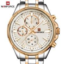 חדש למעלה מותג יוקרה Naviforce אופנה Mens שעונים קוורץ שעון גברים ספורט מלא פלדת שעון זכר תאריך זוהר Relogio Masculino