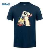 מתנת חנות חולצה תבנית עיצוב חולצת t GILDAN O-צוואר קצר שרוול חולצות מחוז קומיקס Watterson הצעת חוק הובס קלווין ו לגברים