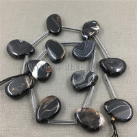 MY1230 Nature Black Banded Agates Polished Water Drop Slice Onyx Pendant Beads For Necklace Jewelry