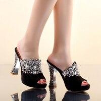2017 Summer new Women sandals Rhinestone Scrub Genuine leather Sheepskin High heels Waterproof Fish mouth Free shipping
