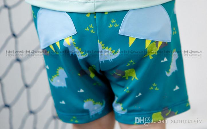 f458e98d92 Bebezoo children swimsuit baby boys dinosaur printed short sleeve swimwear+Swimming  trunks kids cute cartoon 2pcs sets swimsuit-in Swimwear from Mother ...