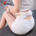 Cintura alta mujeres de pantalones cortos de mezclilla 2016 nueva Sexy 3 Color Cross cintura y glúteos venta de Hot solo pecho Bermuda Feminina