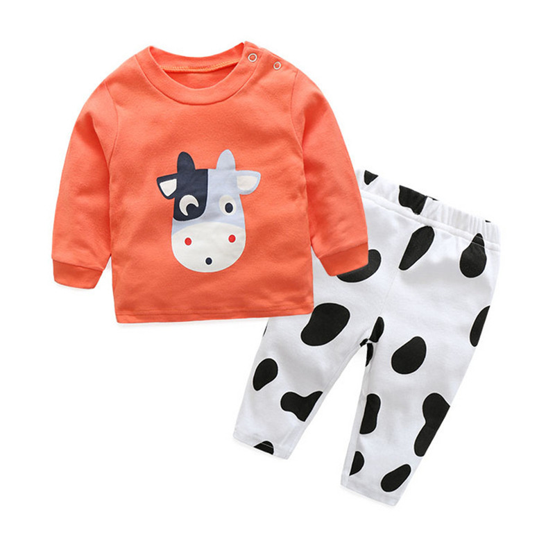 Cartoon Long sleeve baby girls boys Clothes cotton Baby's Sets Green Orange MB38181-MB38182 cotton baby rompers set newborn clothes baby clothing boys girls cartoon jumpsuits long sleeve overalls coveralls autumn winter