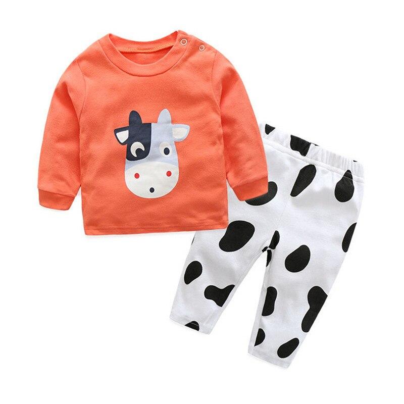 Cartoon Long sleeve baby girls boys Clothes cotton Babys Sets Green Orange MB38181-MB38182