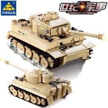 цена на 995pcs Century Military German King Tiger Tank Cannon Building Blocks Bricks Model Sets Kazi 82011 Toys