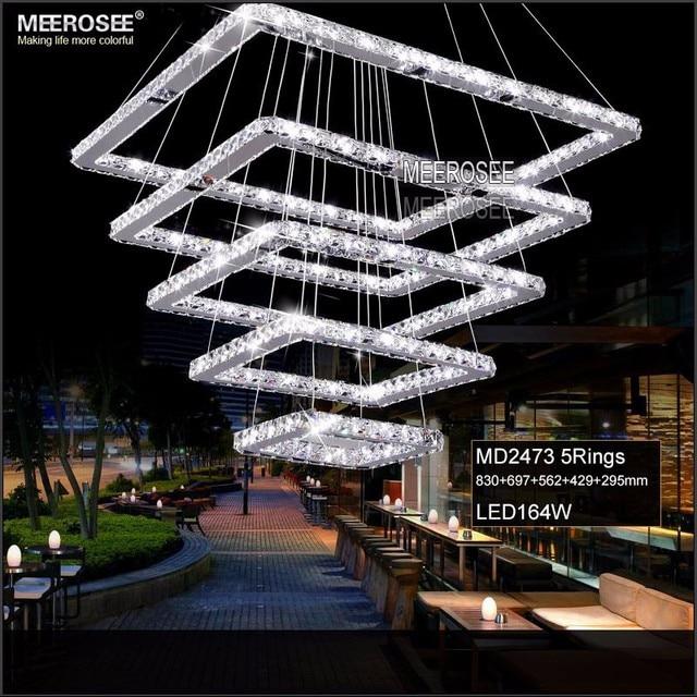 Square Crystal LED Chandelier Lighting Rectangle Crystal Hanging Lamp LED Strip 5 Squares Crystal Stair Light