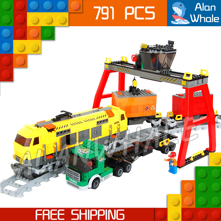 791pcs Creator Classical Cargo Trains Station Truck 25004 Model Building Blocks Bricks Railway Track Toys Compatible With lego 1234pcs creator maersk trains freight cargo locomotive 21006 classical diy model building kit blocks toys compatible with lego