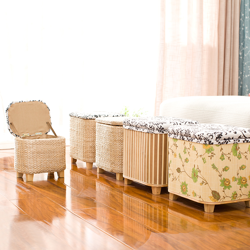 Rattan Straw Storage Stool Ottoman Foot Stool Rectangle Hand Knit Floor Footstool For Living Room Bedroom And Under Desk