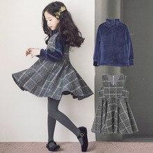 2019 spring autumn pleuche tops+vest dress 2pcs girls clothes set fashion plaid children clothing suit for 3~12 age teenager