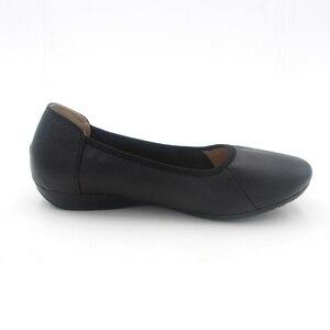 Image 3 - BEYARNE zapatos planos de piel auténtica para mujer, Bailarinas de mujer con punta puntiaguda negra de moda, zapatos planos de mujer bailarina de diseñador de marca