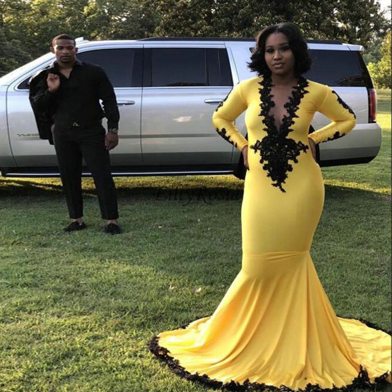 Long Sleeve Mermaid Yellow   Prom     Dresses   for Black Girls Deep V-Neck Spandex Black Appliques Sexy Evening Party Gowns for Women