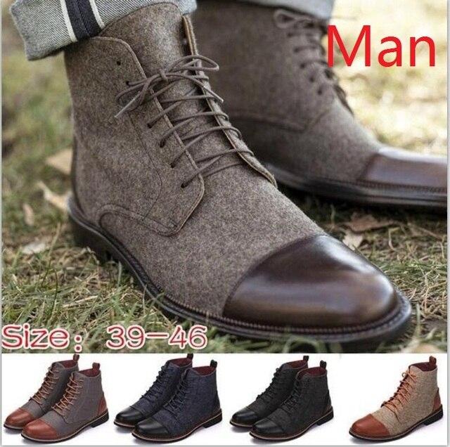 Stivali degli uomini della caviglia di inverno lace up casual scarpe stivaletti oxford gladiatore patchwork sapato feminino chaussure formato 38-46 TA0223