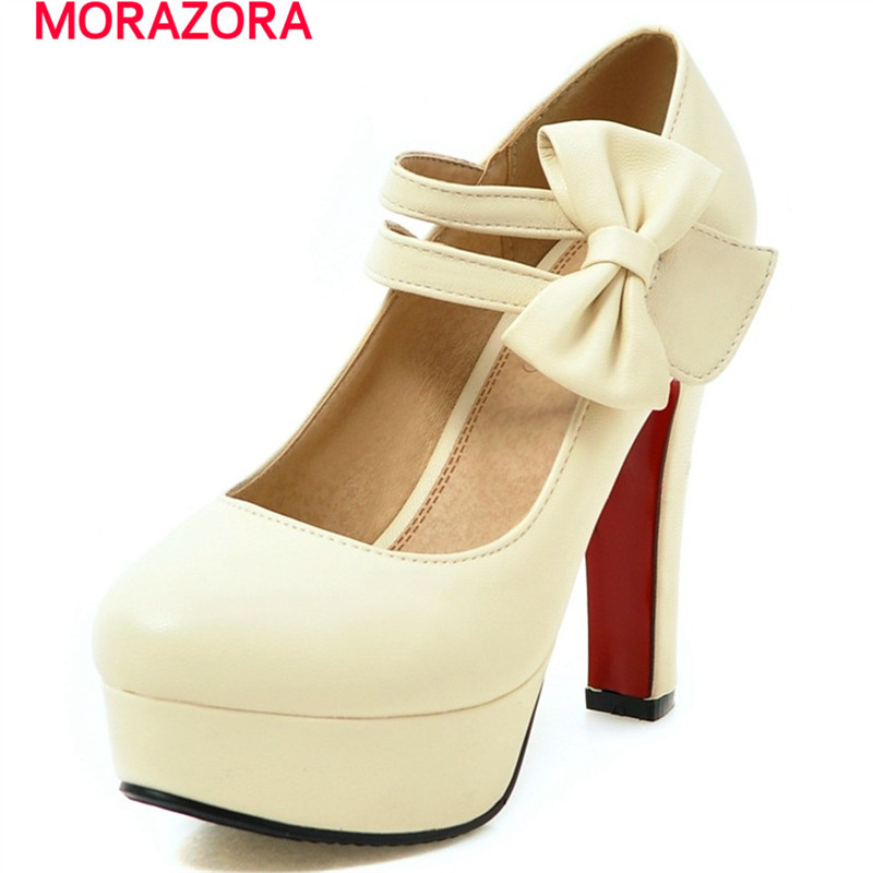 MORAZORA Fashion sweet high heels shoes 12cm shallow women pumps wedding shoes big size 34-47 platform shoes bowtie morazora large size 34 48 2018 summer high heels shoes peep toe sweet wedding shoes shallow women pumps big size platform shoes