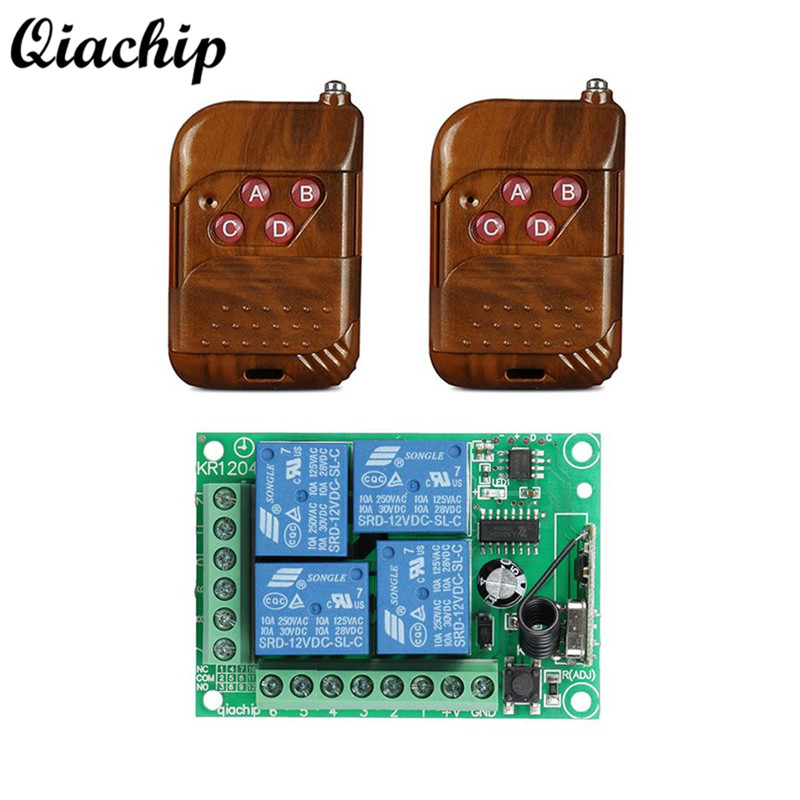 QIACHIP Wireless 433Mhz DC 12V 4CH RF Relay Receiver Module Remote Control Switch + 2pcs 433 Mhz Transmitter Remote Controls Diy