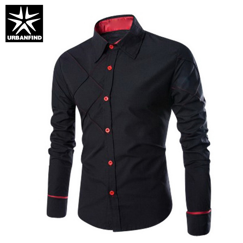 Mens dress shirt black red