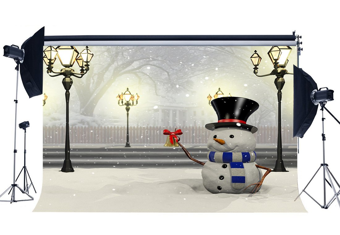 Photography Backdrop Merry Christmas Snowman Rustic Forest Snow Covered Landscape Traffic Lights  Background-in Background from Consumer Electronics