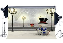Photography Backdrop Merry Christmas Snowman Rustic Forest Snow Covered Landscape Traffic Lights  Background