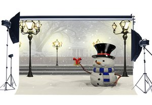 Image 1 - Photography Backdrop Merry Christmas Snowman Rustic Forest Snow Covered Landscape Traffic Lights  Background