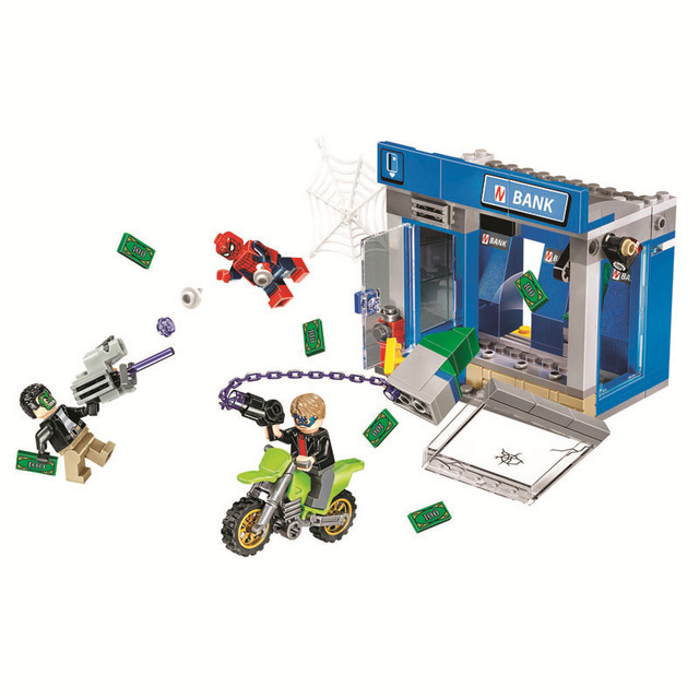 10742 Uper Heroes Spider Man Moive ATM Heist Battle Building Blocks Bricks  Compatible With Lego