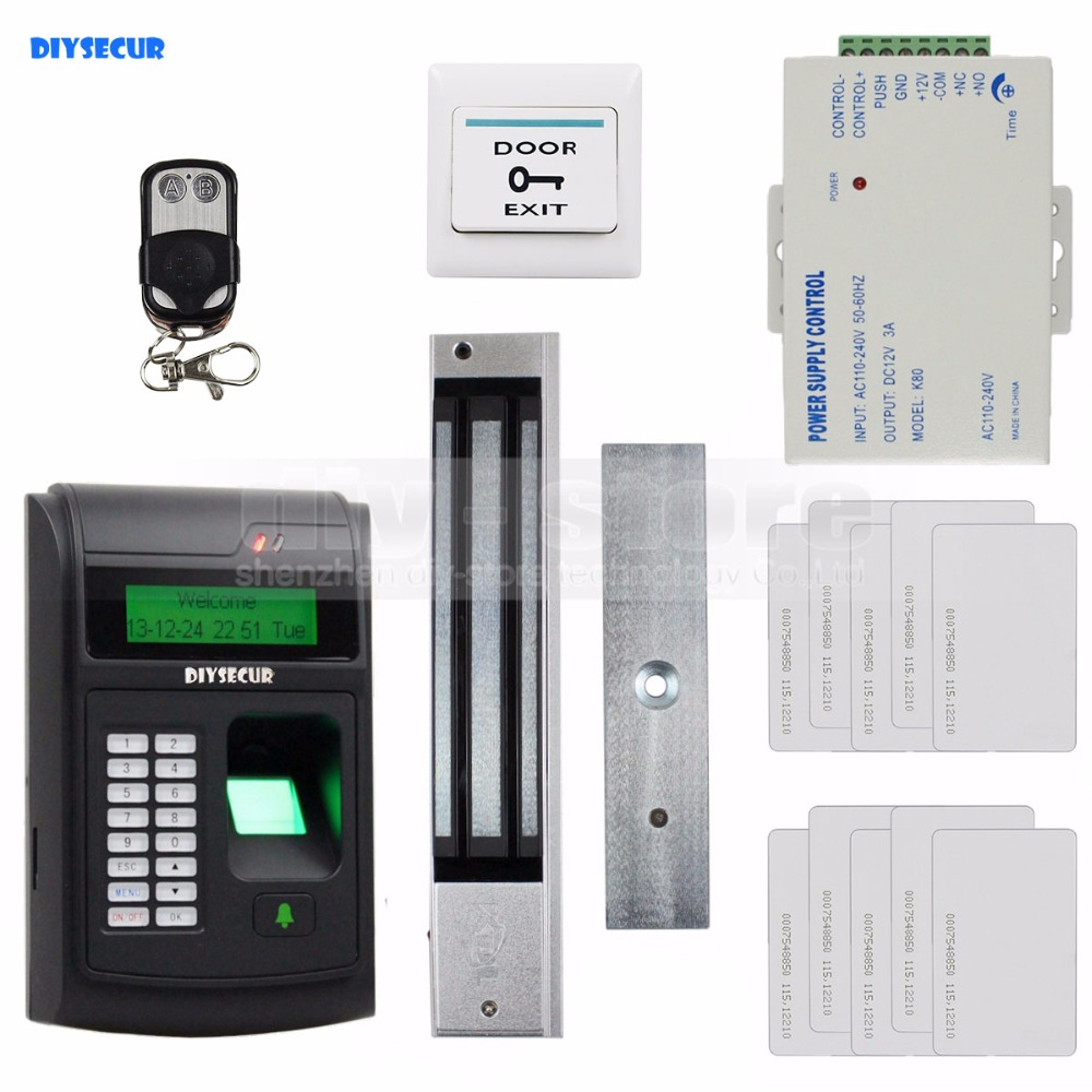 DIYSECUR 125KHz RFID LCD Biometric Fingerprint Keypad ID Card Reader Access Control System Kit + Electric Magnetic Lock  208I-S diysecur lcd economic door rfid proximity reader access control keypad 10 id keyfobs brand new
