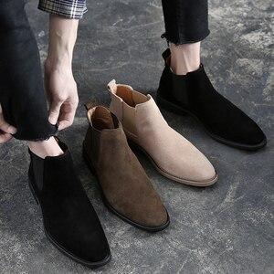 Image 2 - Misalwa Chelsea bottes hommes en daim cuir décent hommes bottines Original mâle chaussures décontractées courtes Style britannique hiver printemps botte