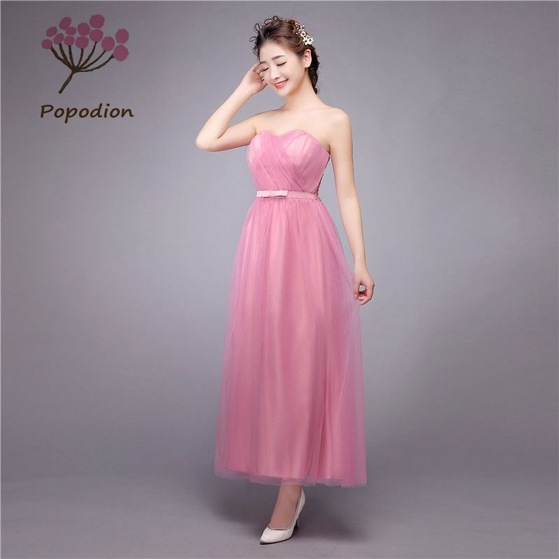 long style strapless wedding guest dresses gray bridesmaid dresses sisters bow vestido longo cheap party dress rom80056