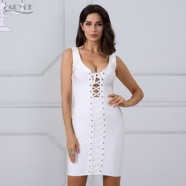Adyce 2017 Women Summer Runway Bandage Dress Sexy Lace Up V Neck Bodycon Mini Tank Vestidos New Celebrity Evening Party Dresses