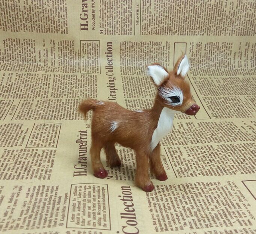 10cm Simulation Plush Toy Sika Deer Christmas Decoration Artificial Animal Doll Kid Gift Pastoral Home Decoration  Handicrafts