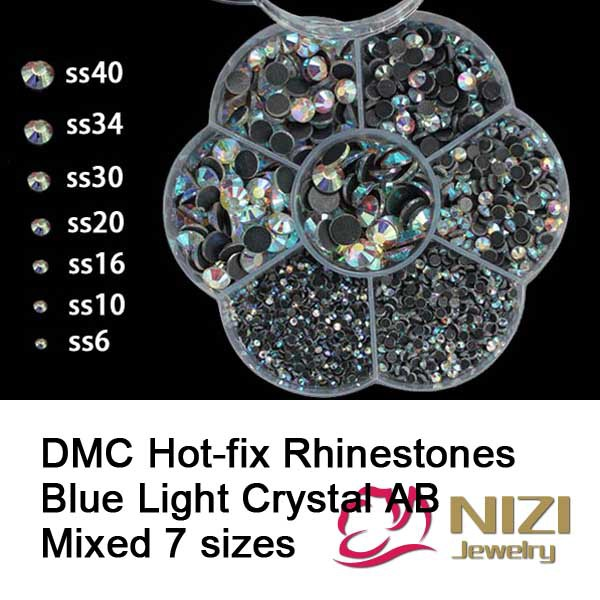 Crystal AB Color DMC Hotfix Rhinestones Mixed 7 Sizes Flatback Round Glue Backing Iron On Strass Diamonds DIY Crafts Garments ss6 ss10 ss16 ss20 ss30 fuchsia color top quality dmc iron on hot fix crystal glass rhinestones with strong gray glue