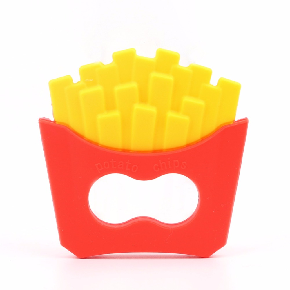 TYRY.HU 1PC French fries teether DIY Teething Necklace Accessories Food Grade Silicone Baby Teether Chew Pendant цена 2017