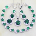 925 Sterling Silver Jewelry  Round Green Emerald White Created Topaz Jewelry Sets Women Earrings/Pendant/Necklace/Bracelet T048