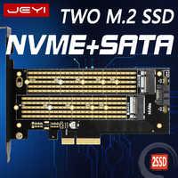 JEYI SK6 M.2 NVMe SSD NGFF à PCIE X4 adaptateur M clé B clé double interface carte Suppor PCI Express 3.0x4 2230-22110 toutes tailles m.2
